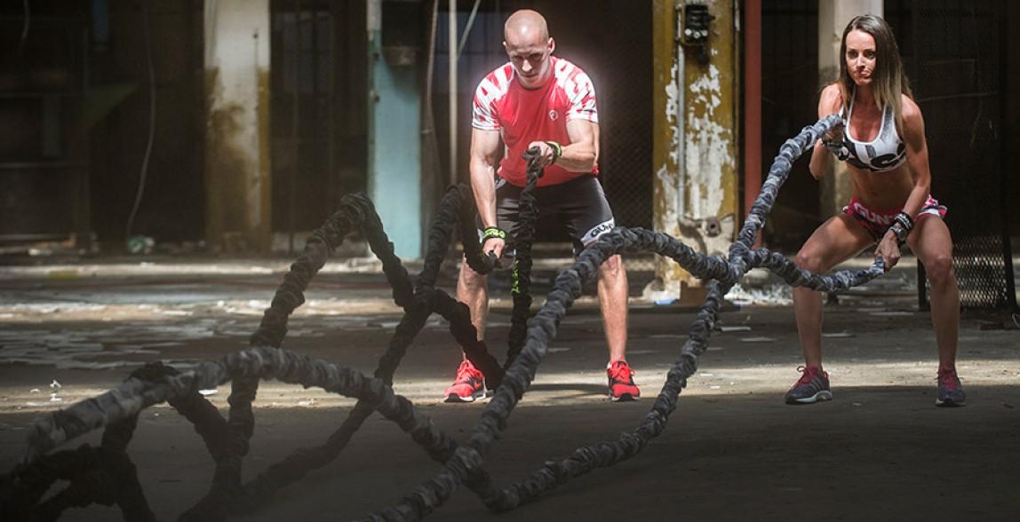 trening cardio liny battle rope